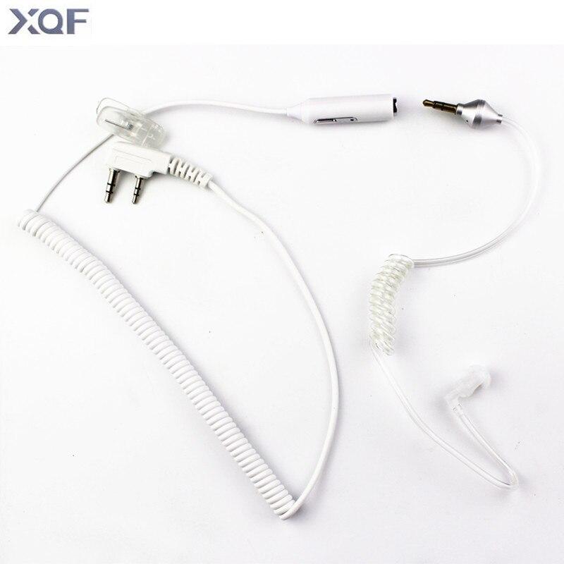 imágenes para 2 en 1 K enchufe PTT MIC Acústico del Tubo Flexible 2pin auricular auricular para kenwood baofeng tyt wonxun radio 3.5mm para moblie teléfono