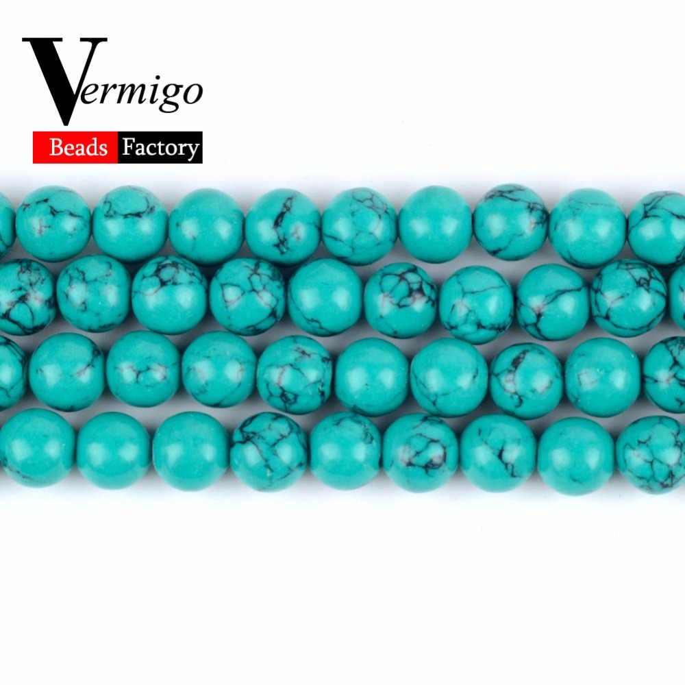 จัดส่งฟรีหินธรรมชาติสีเขียว Turquoises Minerals ลูกปัดรอบลูกปัดแบบหลวมสำหรับเครื่องประดับ 4-12 มม. เลือกขนาด diy สร้อยข้อมือ