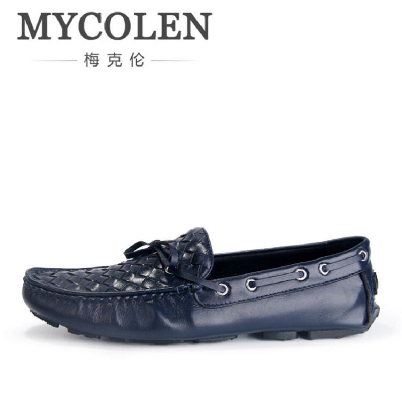MYCOLEN High Quality Leather Men Casual Shoes Breathable Blue Driving Shoes Soft Moccasins Loafers Leisure Men Flats Scarpe 2017 new brand breathable men s casual car driving shoes men loafers high quality genuine leather shoes soft moccasins flats