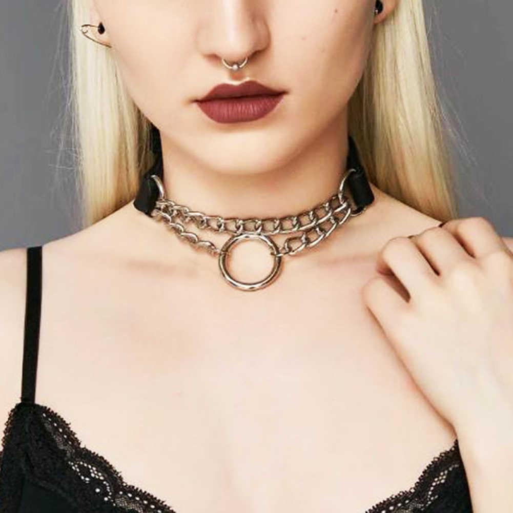 Готический замок цепи ожерелье многослойное панк чокер воротник цепочка в готическом стиле кулон ожерелье женщины blackleather эмо каваи ювелирные изделия с изображением ведьмы