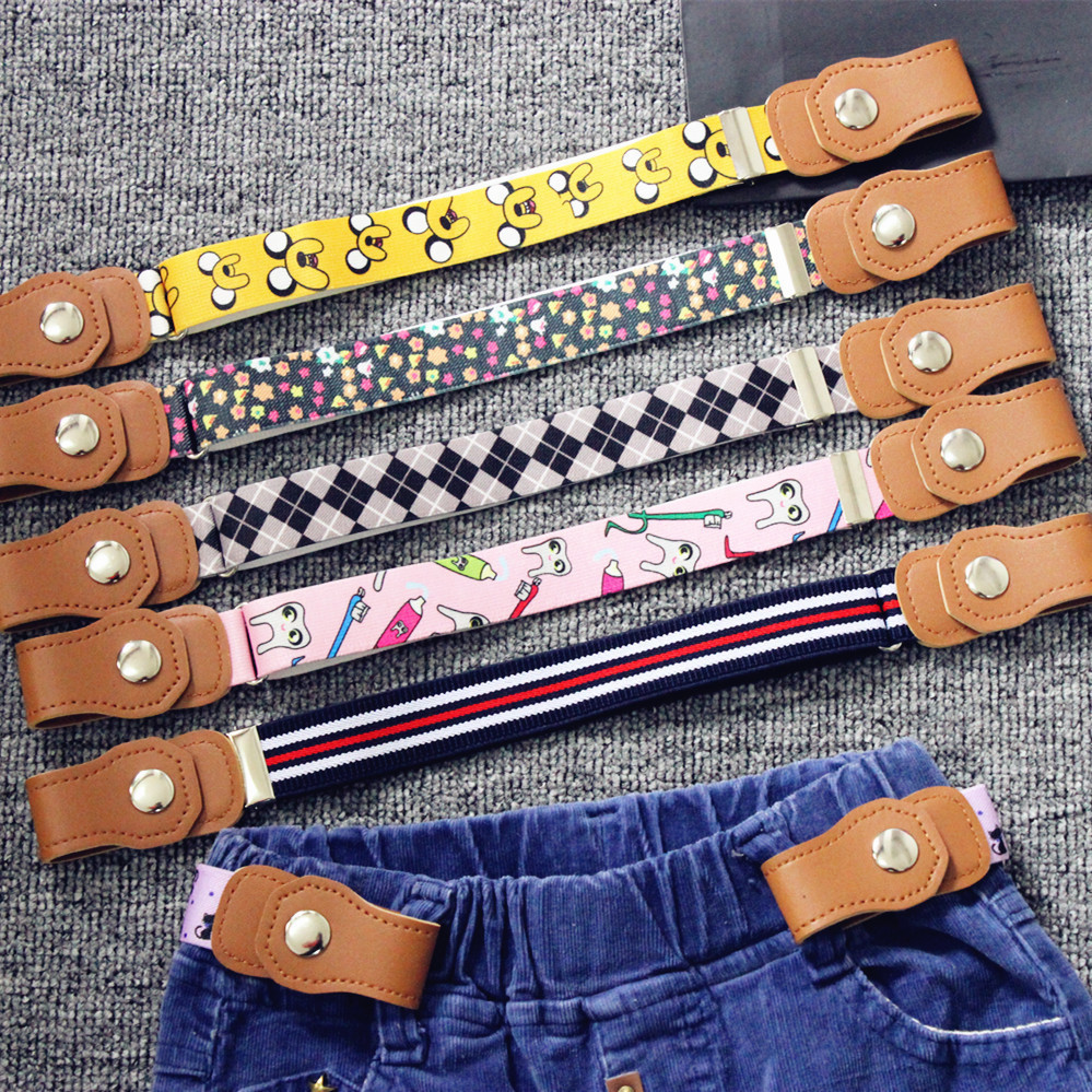 AWAYTR de moda cinturón de lona para los niños de alta elástico cinturón para los hombres de la PU botón sin hebilla ajustable libre elástico de los niños cinturones