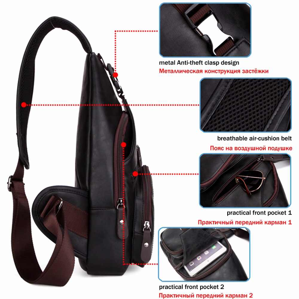 859a36f1d7a5 ... VICUNA POLO, очень большая модная мужская сумка через плечо, черная  кожаная мужская сумка- ...