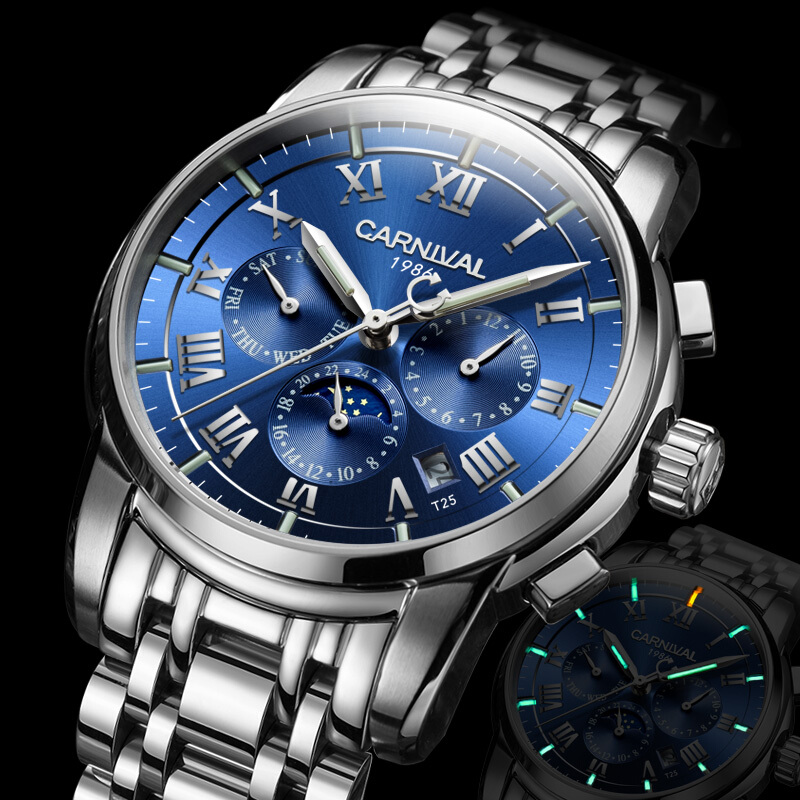 Carnival Mens Multifunction Dial Steel Watchband Tritium T25 Luminous Military Automatic Self-Wind Mechanical Watch