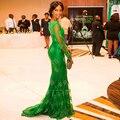 2016 más nuevos diseños de los vestidos mujeres Formal encaje de manga larga llena verde esmeralda vestido de fiesta a partido sirena hermosa Prom vestidos