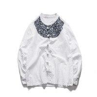 Huai linen shirt male or men's retro big yards of cotton button collar loose lay hanfu long sleeve shirts