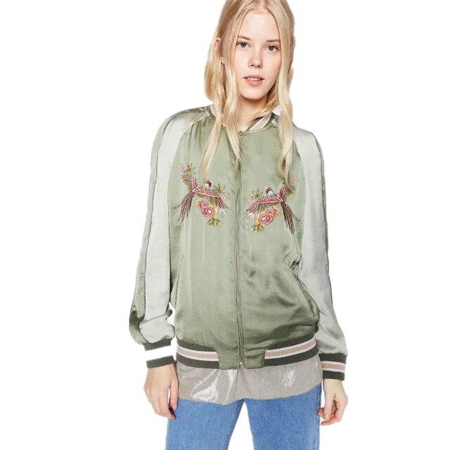 Осень Женщины Куртка Бомбардировщика 2016 Новая Мода Голубь Животных Вышивка Зеленый Женщины Куртка Молнии Femme Повседневная Пиджаки Пальто