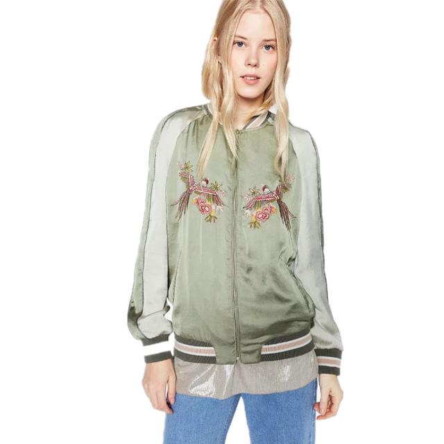 Otoño Mujeres Bomber Jacket 2016 Nueva Moda Animal Pigeon Bordado Verde Piloto Mujeres Femme Chaqueta de Cremallera Ocasional Outwear
