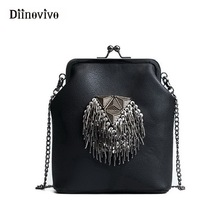 DIINOVIVO New Spring Shell Shoulder Bags Punk Style Rivet Women Youth Leather Handbags Girl Fashion Chain Crossbody Bag WHDV0341