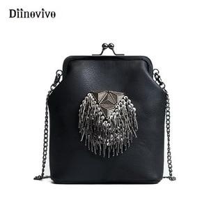 DIINOVIVO New Spring Shell Shoulder Bags Punk Style Rivet Women Youth Leather Handbags Girl Fashion Chain Crossbody Bag WHDV0341(China)