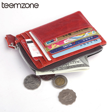 Free shipping unisex women genuine leather cool purse clutch wallet simple card holder bag ID credit card coin holder multicolor