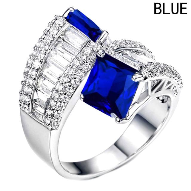 Trendy Silver Luxury Blue Square Zircon Ring Multicolor Women's Valentine's Day