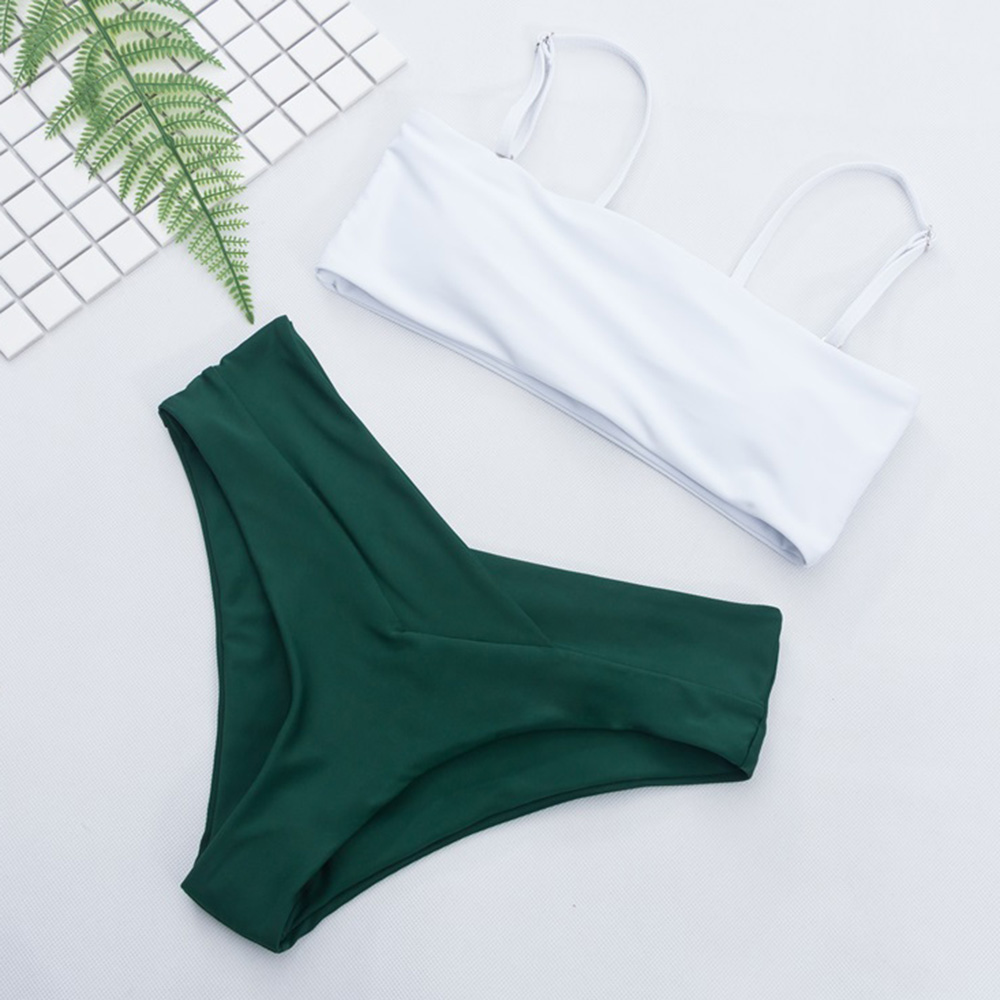 New Solid Patchwork Bandeau Swimsuit Bikini Set 2019 Swimming Suit For Women Swimwear Bathing Suit Maillot