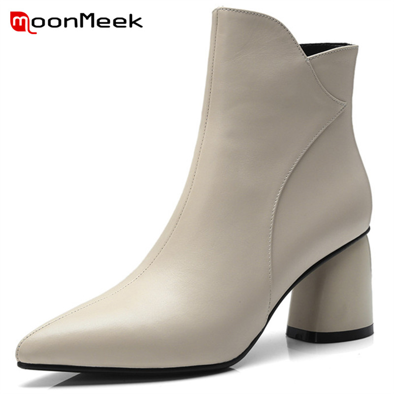 MoonMeek new arrive 2018 pointed toe shoes woman ankle boots high heels genuine leather boots popular autumn winter ladies boots printing new boots 2015 autumn winter genuine leather mixed colors thick with pointed toe woman boots stylish comfortable shoes