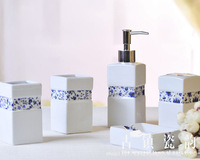 Blue White Porcelain Five Pcs Ceramic Bathroom Set Toothbrush Holder Soap Dispenser Soap Dish Tooth Mug