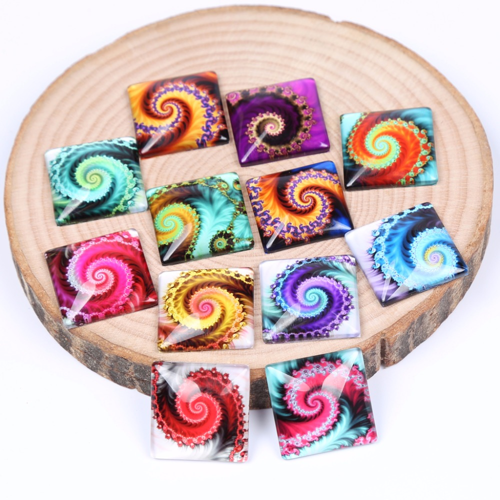 reidgaller mixed swirlpool photo square glass cabochons 12mm 20mm 25mm diy jewelry making accessories mixed print square coaster