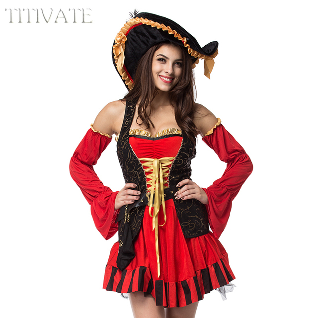 Ivate Deluxe Pirates Of The Caribbean Pirate Captain Costume Hen Party Cosplay Fancy Dress Outfit