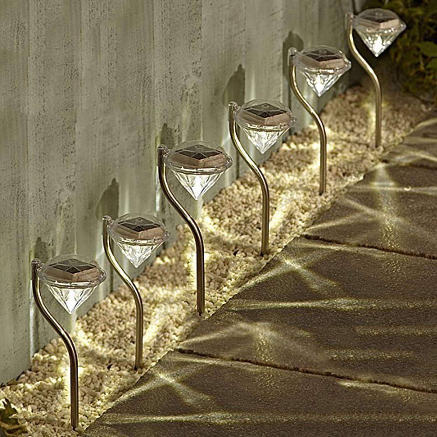 6 pcs Color-changing Diamond LED Solar Light Solar Garden Light Border or Path Backlight Outdoor Solar Light Lawn Landscape
