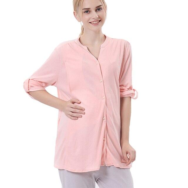 Plus Size XXL Summer Pregnant Women Sets Thin Cotton Leisurewear Cardigan Long Sleeve Breastfeeding Clothing Pajamas Sleepwear