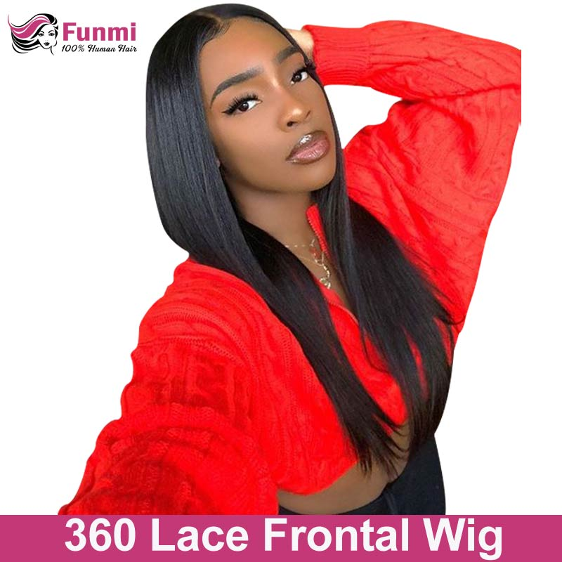 360 Lace Frontal Wig Straight Lace Front Wig Brazilian Wig Lace Front Human Hair Wigs For Black Women Funmi Virgin Hair Wigs(China)