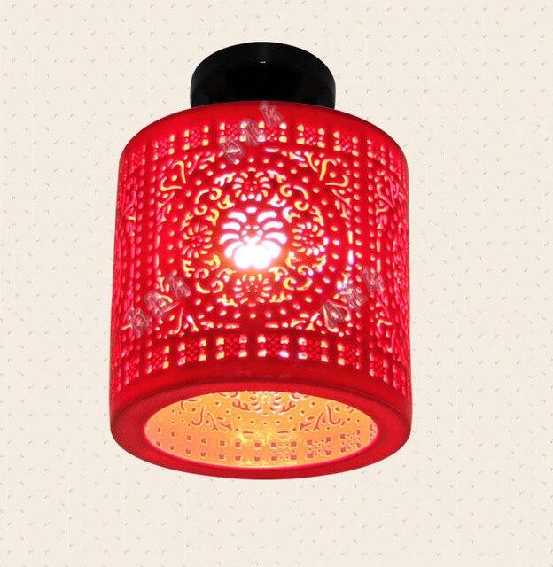 LED Deckenleuchte Schne Jingdezhen Porzellan Licht Wohnzimmer Leuchten Hotel Rot Ceamic Lampe