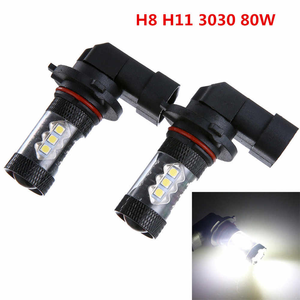 2PCS !  H8 H11 6500K Super White LED Car Fog Driving Head Lights Bulb 80W Auto Driving Daytime Running lamp