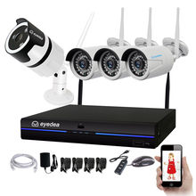 Eyedea Wireless Home Security Camera System 4CH 1080P WiFi NVR 2.0MP Outdoor Waterproof Audio Phone View Surveillance Kits