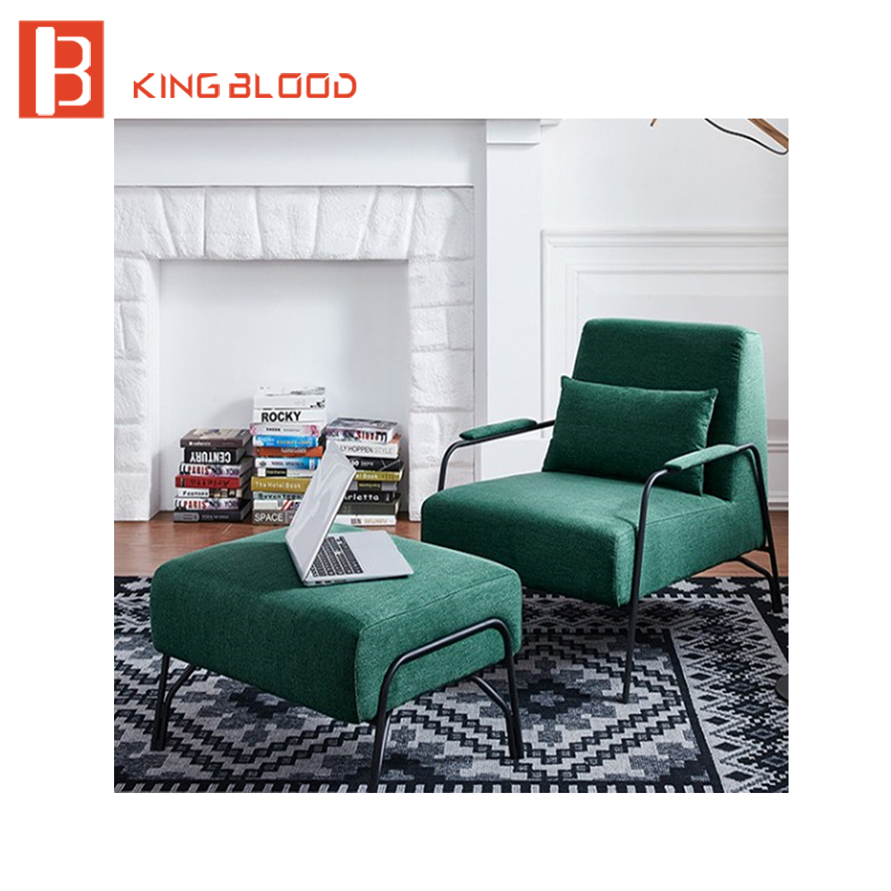 Meubles de maison salon design de mode tissu fauteuil avec pouf