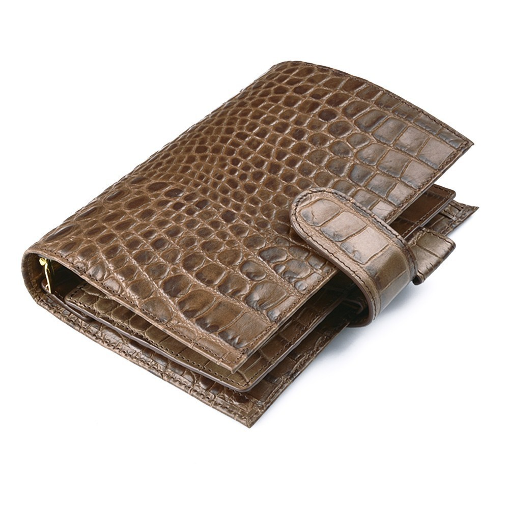 100% Véritable En Cuir Anneaux Portable Alligator Café 190x135mm Journal Intime Or Liant Luxueux Planificateur Ordre Du Jour Organisateur