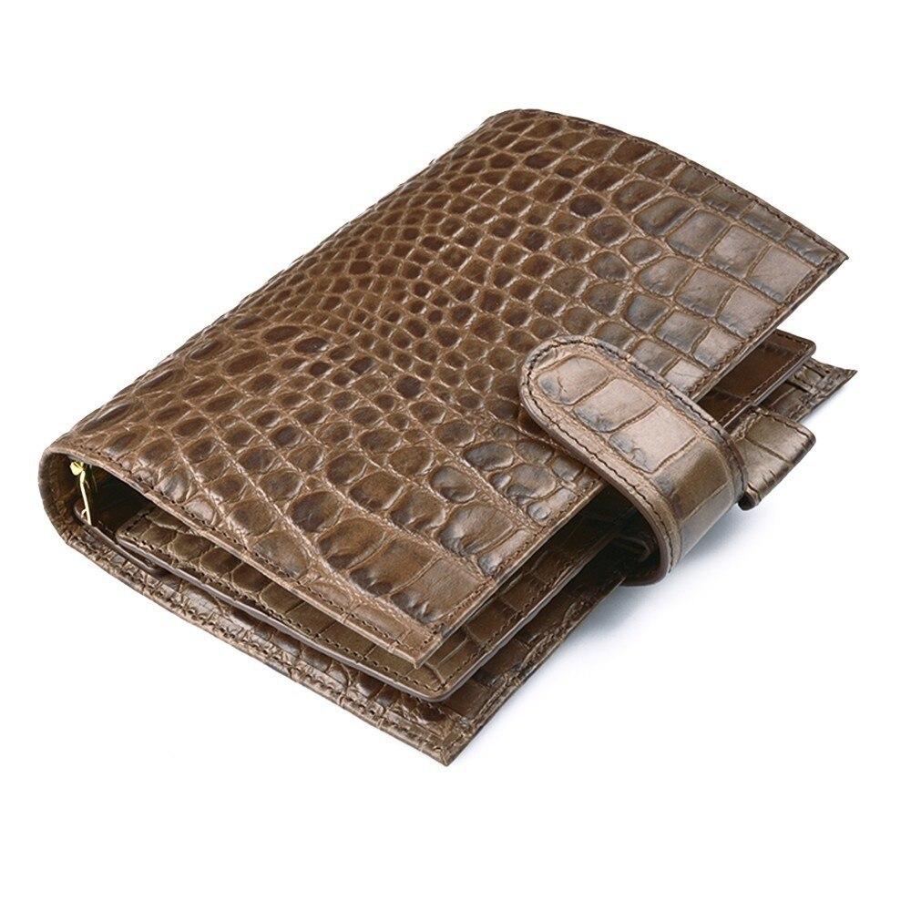 100% cuero genuino anillos Notebook cocodrilo café 190x135mm diario Personal carpeta del oro lujoso Agenda organizador