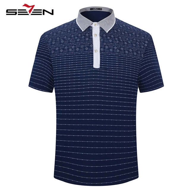 Seven7 Моды для Мужчин Polo Рубашки Лето Slim Fit С Коротким Рукавом Производительность Polo Футболки Цветочный Печати Полосатый Polo Рубашки 110T50490