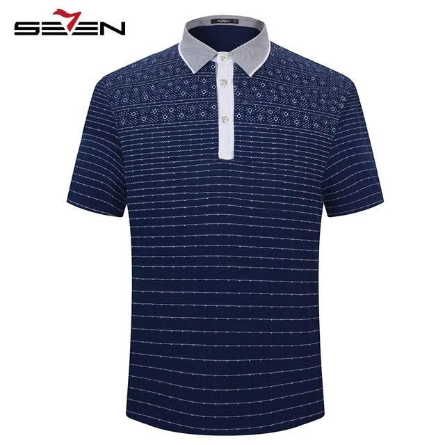 Seven7 moda hombre polo camisas de rendimiento de verano slim fit de manga corta polo camisas de polo de rayas estampado floral camisas 110t50490