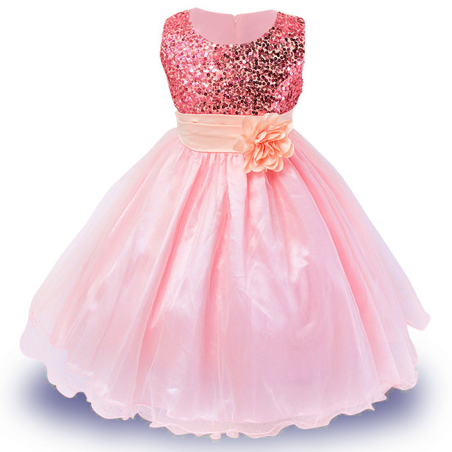 3-14yrs Hot Selling Baby Girls Flower Sequins Dress
