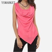 2017 Summer Plus Size XL Womens Sexy Sleeveless Cowl Neck Vest Tops Solid Colors Draped Wrap