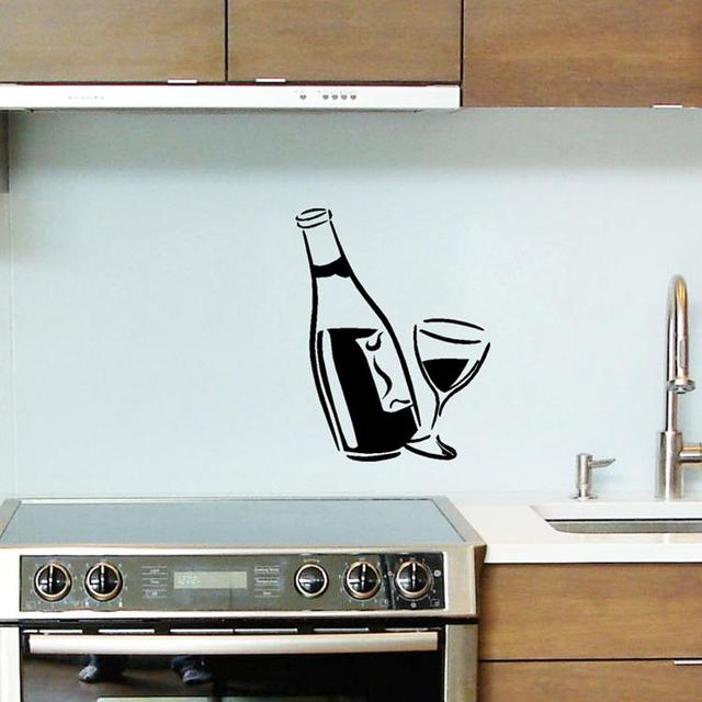easy time uk kitchen decal wine glass and bottle wall art stickers