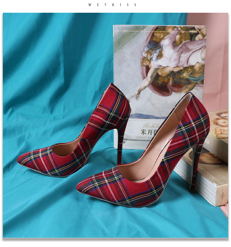 Pumps Heels Red Pointed Plaid Shoes 15