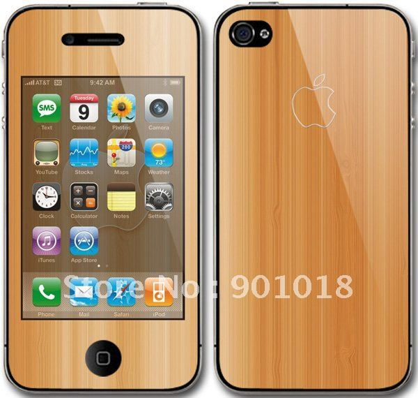 for iphone 4 pvc skins,retail packing,welcome skin customize,freeshipping