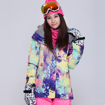 GSOU SNOW Outdoor Sport Colorful Flower Windproof Woman Snow Coat High Quality Snowboard Jacket Waterproof Female Skiing Jacket