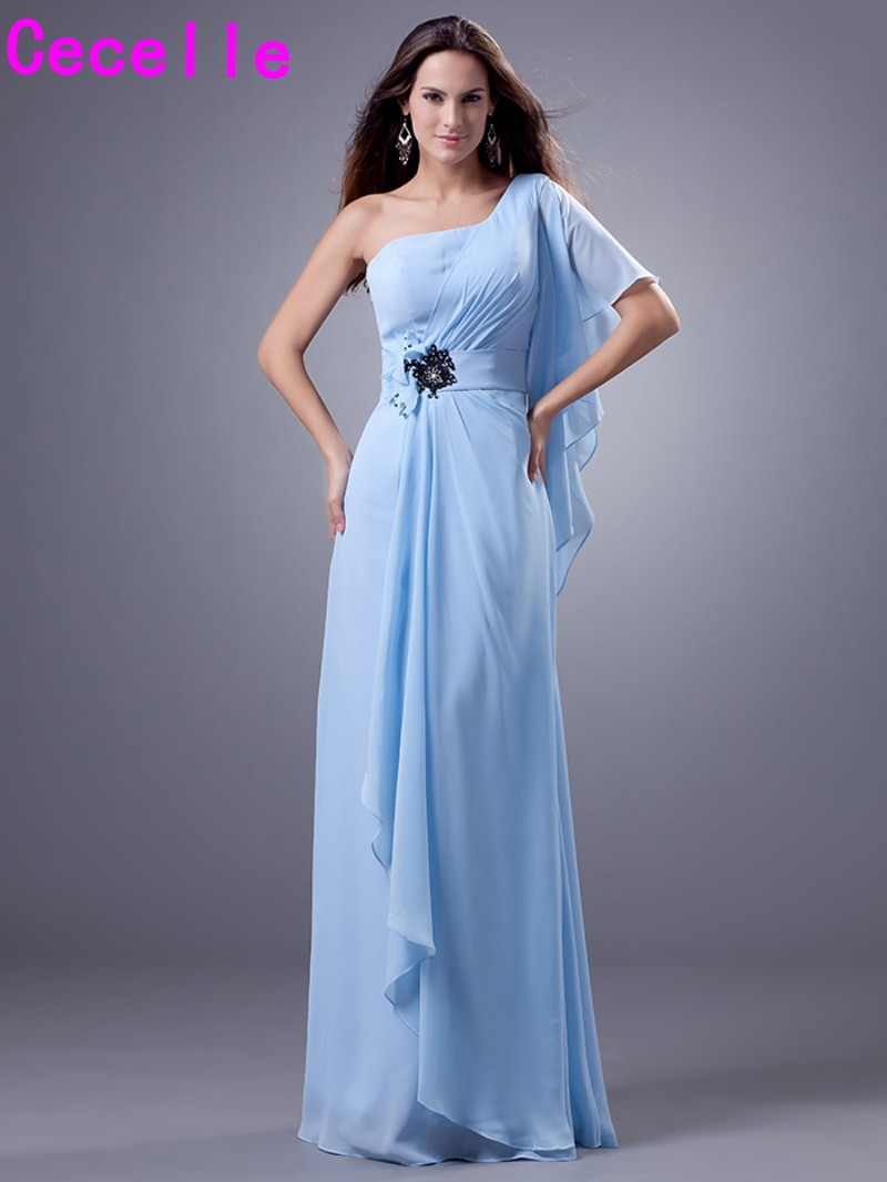 Blue chiffon long bridesmaid dresses a line one shoulder floor blue chiffon long bridesmaid dresses a line one shoulder floor length country western wedding party dresses custom made 2017 in bridesmaid dresses from ombrellifo Image collections