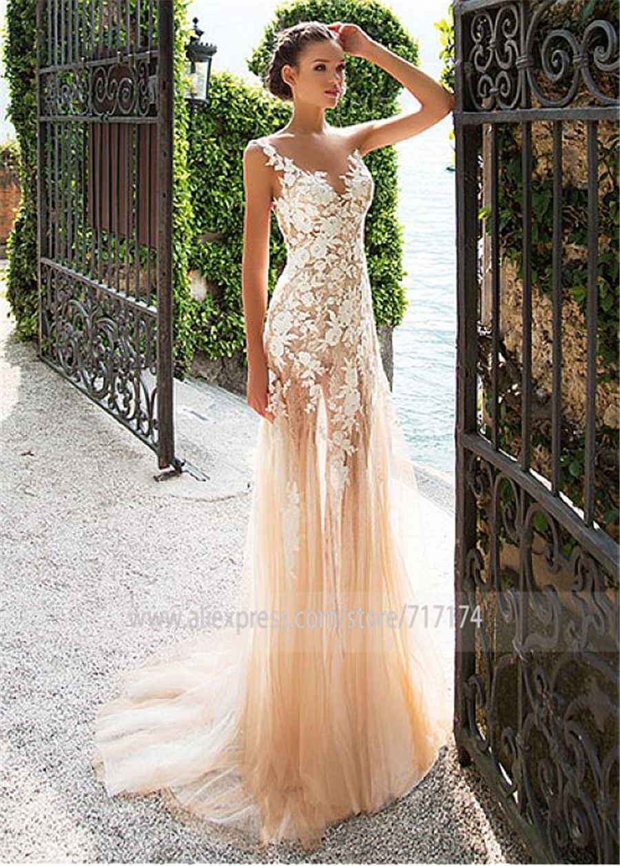 Image 3 - Marvelous Lace Bateau Neckline See through Sheath Wedding Dresses With Lace Appliques Champagne Bridal Dress with Color-in Wedding Dresses from Weddings & Events