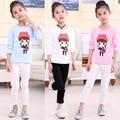 Весна осень длинный рукав футболку для девочек мультфильм девочек футболки дети топы детские толстовки детская одежда тройники