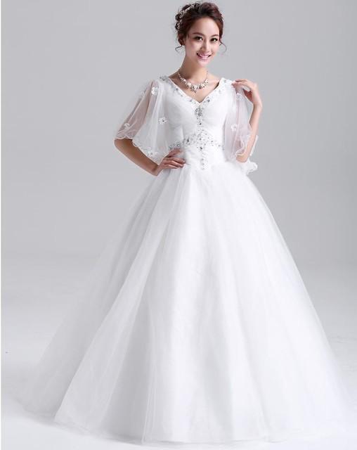 20142014 Elegant Vintage Butterfly Sleeve V Neck Wedding Dresses Ivory Lace Diamond Decor Sexy Bridal