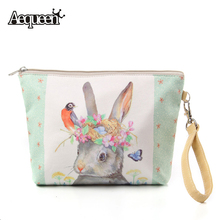 New Big Women Make Up Bags Flower Floral Canvas Zipper Cosmetic Case Simple Casual Girls Lady Pouch Storage Travel Organizer