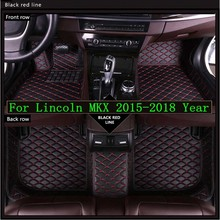 New 3D Leather Car Floor Mats For Lincoln MKX 2015-2018  Custom Auto Foot Pad Automobile Carpet Cover Waterproof Mat