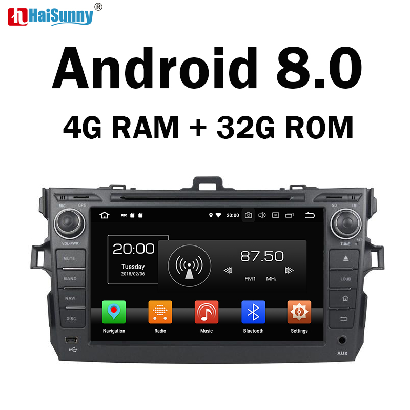 HaiSunny 4GB RAM Octa Core Android 8.0 Car DVD GPS Multimedia Player Stereo For Toyota Corolla 2007 2008 2009 2010 2011 Radio цена