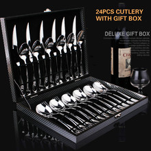Cutlery Tableware high quality fashion stainless steel steak Knives and Forks Ladles dinnerware gift set 24pcs set w/Gift Box
