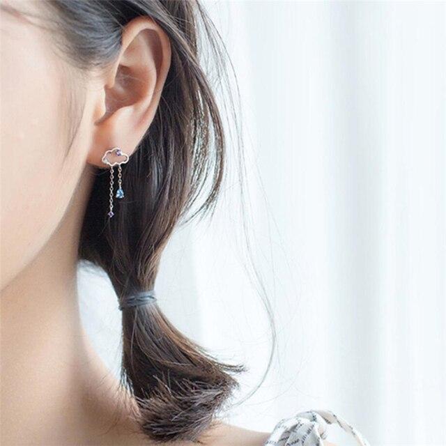 Asymmetry Hollow Clouds 925 Sterling Silver Earrings 3