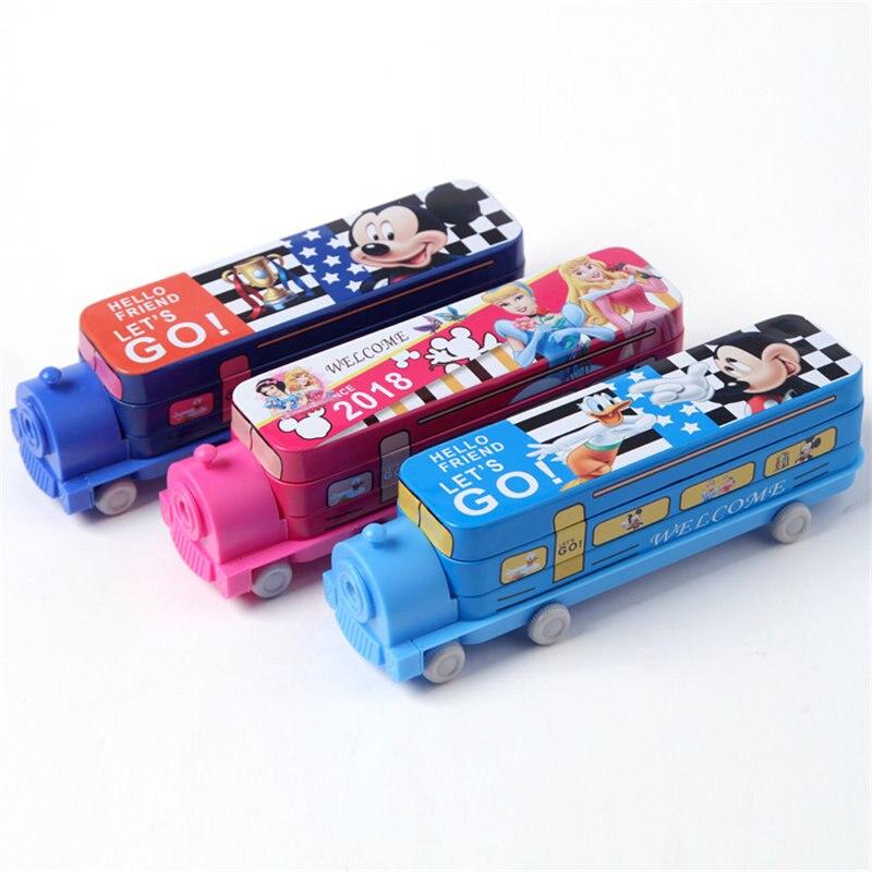 Disney Cartoon Locomotive Princess Stationery Box Train Double Iron Pen Box Cute Children Pencil Case With Pencil Sharpener