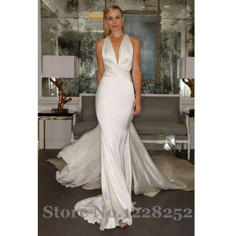 Backless Ivory Mermaid Wedding Dresses 2017 Simple Soft Satin ...