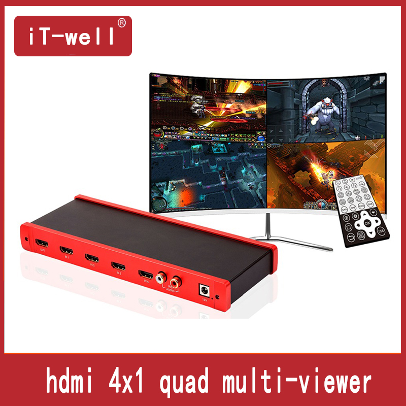 IT-well HDMI 4x1 Quad Multi-viewer HDMI Quad Screen Real Time Multiviewer With HDMI Seamless Switcher 1080p HD IR HDMI Switch