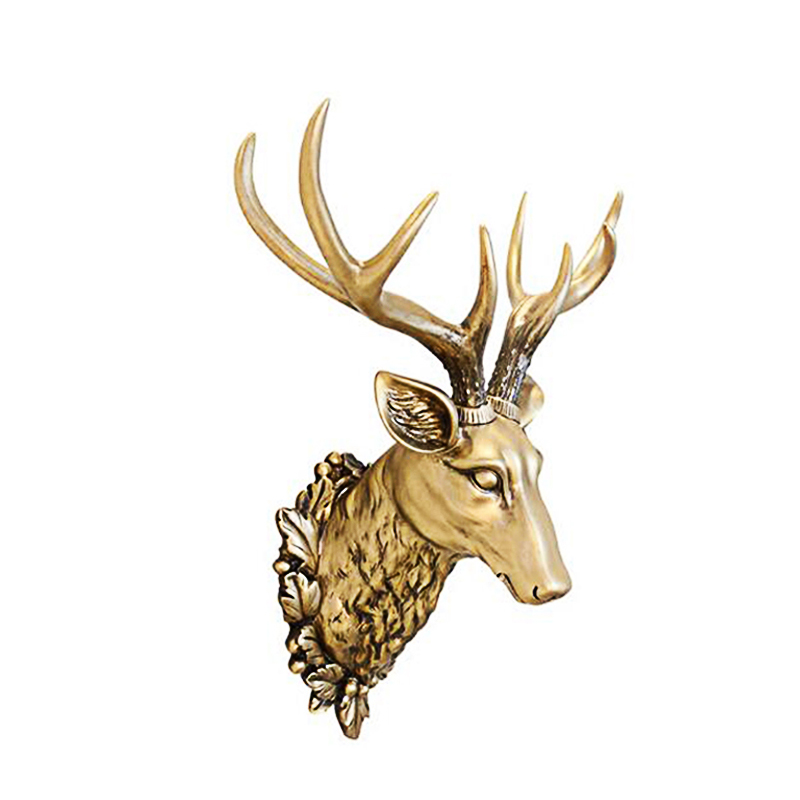 3D tête de cerf Sculpture peintures murales maison tenture Animal Statue décoration résine à la main Village européen ornement œuvre artisanat-in Statues et sculptures from Maison & Animalerie    1